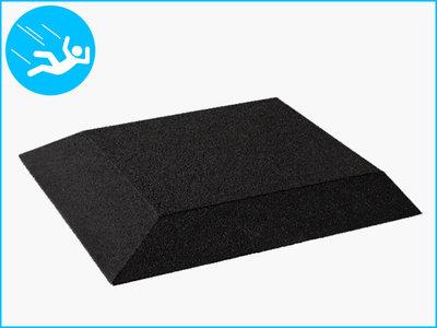 RubbertegelXL - Rubberen Speelplaatstegel - 50x50 cm Zwart - Hoek