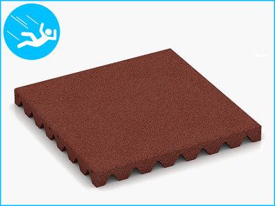 RubbertegelXL - Rubberen Speelplaatstegel - 50x50x5 cm Rood - Bovenkant