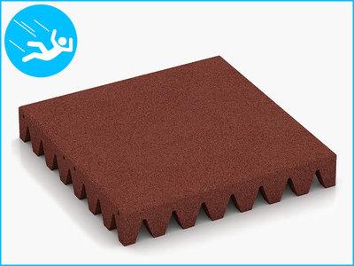RubbertegelXL - Rubberen Speelplaatstegel - 50x50x6,5 cm - Rood - Bovenkant