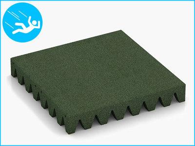 RubbertegelXL - Rubberen Speelplaatstegel - 50x50x6,5 cm Groen - Bovenkant