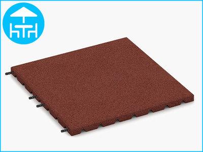 RubbertegelXL - Rubberen Terrastegel - 50x50x3 cm Rood - met Pen/Gatverbinding - Bovenkant