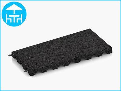RubbertegelXL - Rubberen Terrastegel - 50x25x4 cm Zwart - met Pen/Gatverbinding - Bovenkant