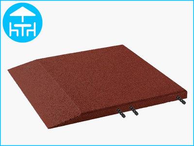 RubbertegelXL - Rubberen Terrastegel - 50x50 cm Rand Rood - met Pen/Gatverbinding - Bovenkant