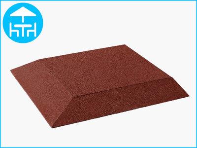 RubbertegelXL - Rubberen Terrastegel - 50x50 cm Hoek Rood - Bovenkant