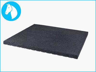 RubbertegelXL - Rubberen Stalmat - 100x100x4 cm Zwart - Bovenkant
